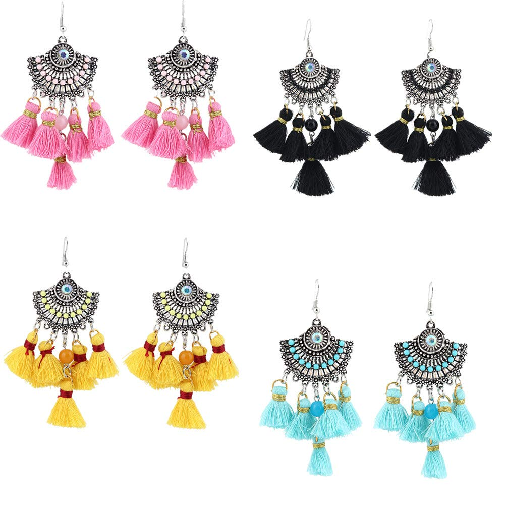 Fully 2 Pairs Womens Tassel Drop Earrings Girls Bohemian Vintage Retro Dangle Boho Eardrop Hook