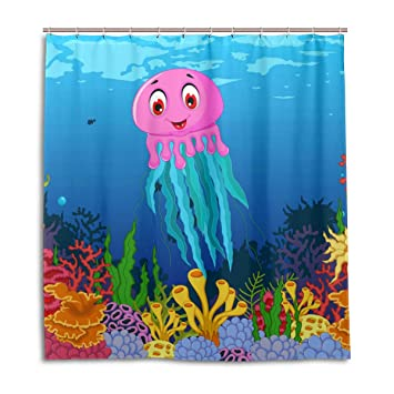 Amazon Unicey Cute Squid Waterproof Polyester Shower Curtain