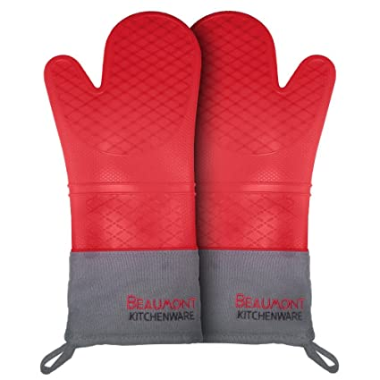 Beaumont Kitchenware Top Rated Oven Mitts | High Quality Extra Long 15
