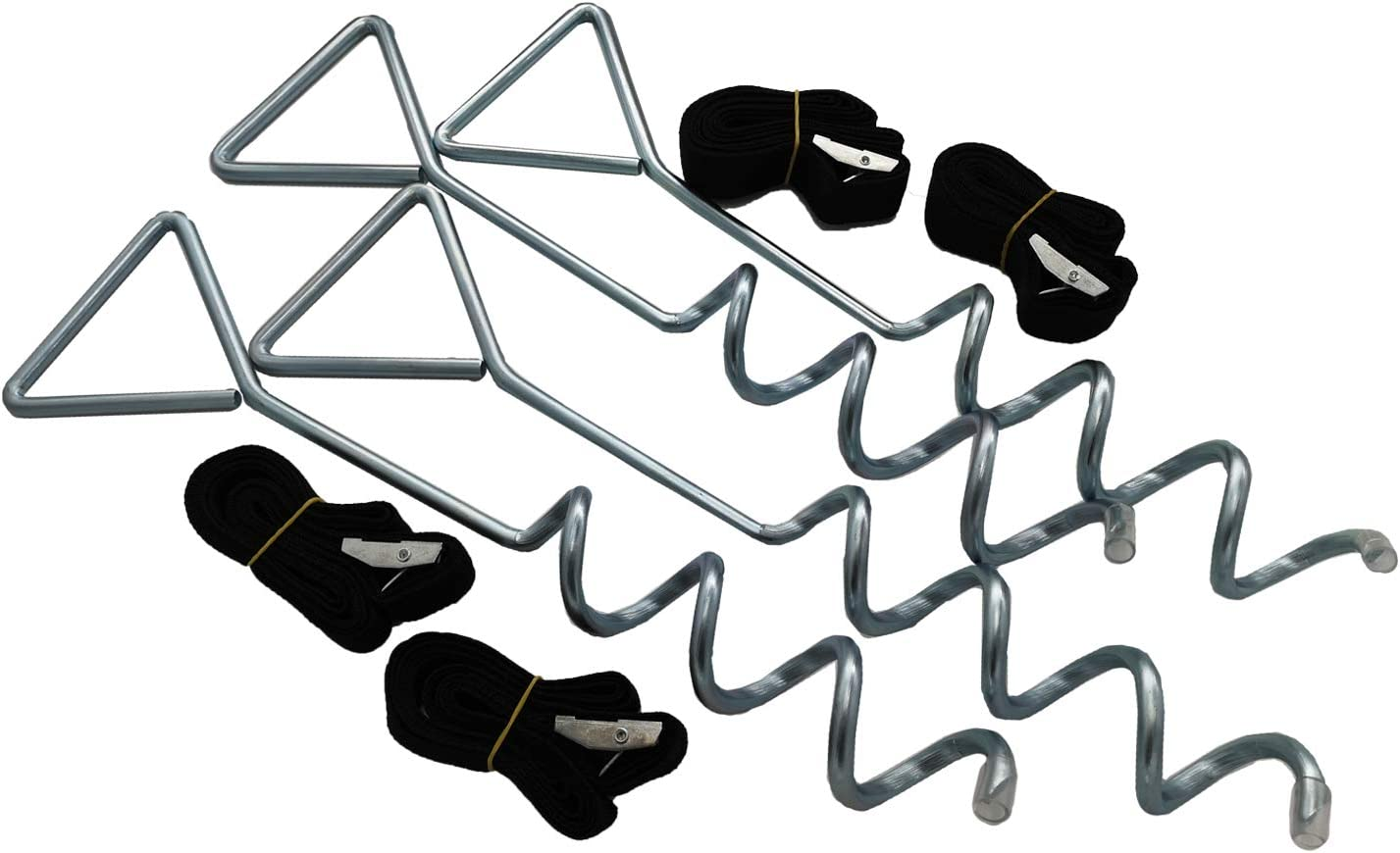 ZhenT Trampoline Anchors Kits,Heavy Duty Tie Down System,Set of 4,Give a Greater Span of Anchorage to Be Safer,Non-Rust Anchors Kit for Trampolines