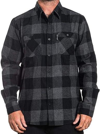 Sullen Clothing - Camisa de Franela, diseño de Cuadros, Color Negro y Gris Gris S: Amazon.es: Ropa y accesorios