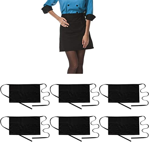 Women Commercial and Kitchen Use Premium Black Waitress Apron 2 Pack | Bistro Restaurant Style Half Apron for Men Waiter Bartender Waist Apron with 3 Pockets and Extra Long Ties Servers Cook