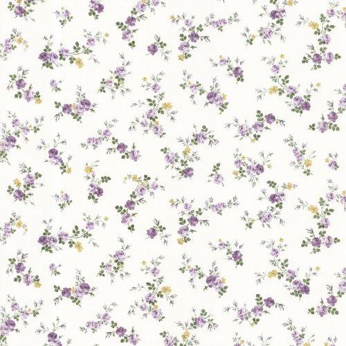 33' Victorian Tool - Brewster 487-68816 Fiona Sprigs Toss Wallpaper, Purple