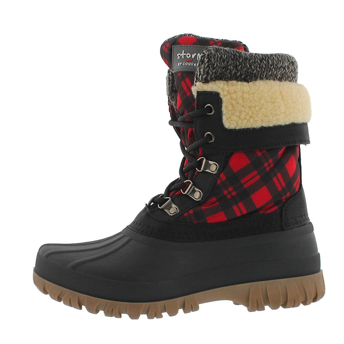 Cougar Women's Creek Lace Up Waterproof Winter Boot Red Plaid 8 M US
