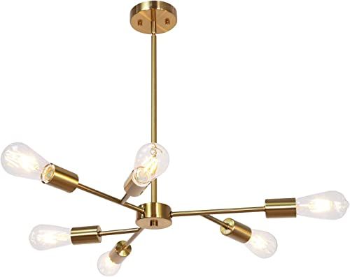 Banato Sputnik Chandelier Modern Metal Pendant Lighting Hanging Fixture Semi Flush Mount Ceiling Light with Brushed Brass Finish 6 Lights Flush Mount UL Listed