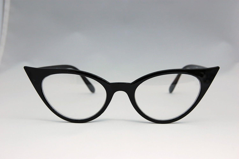 a45d5e8915 Black Frame Cateye VTG 50s 60s Style Clear Lens Cat Eye Office Geek Retro  Rockabilly Glasses  Amazon.co.uk  Sports   Outdoors