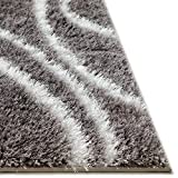 Sierra Soft Plush Modern Waves Grey White Geometric 5×7 (5′ x 7′) Area Rug Luster Pile Dense Plush Carpet For Sale