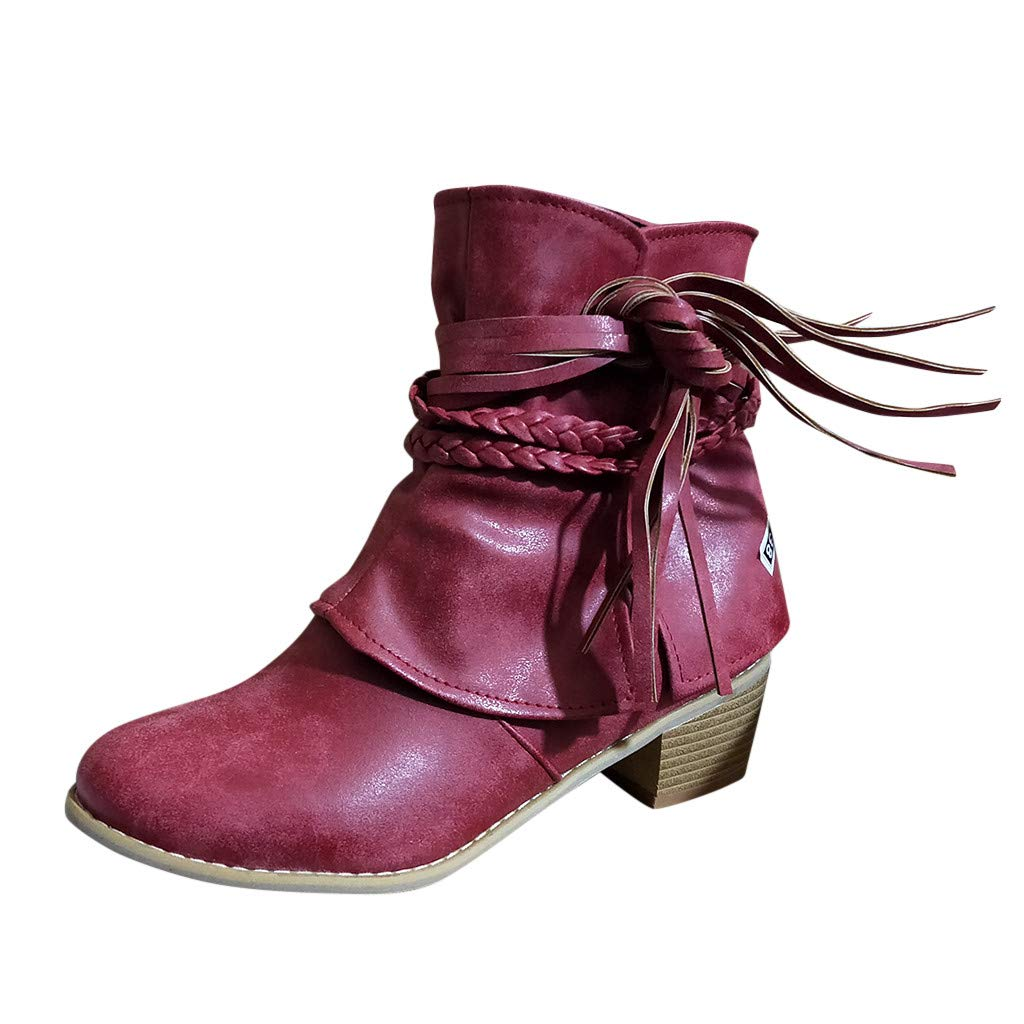 Kauneus Womens Vintage Roman Ankle Boot Weave Lace Up Round Toe Classic Short Boot Chunky Mid Heel Solid Fashion Boots Wine by Kauneus Fashion Shoes