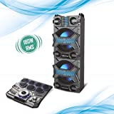 AISEN® 180W RMS Walk & Rock Portable Hi-fi Party Speaker with Electronic Drum Pads & Wireless Microphone, Electric Guitar Input, Karaoke Compitable (Black, A20UKB830)