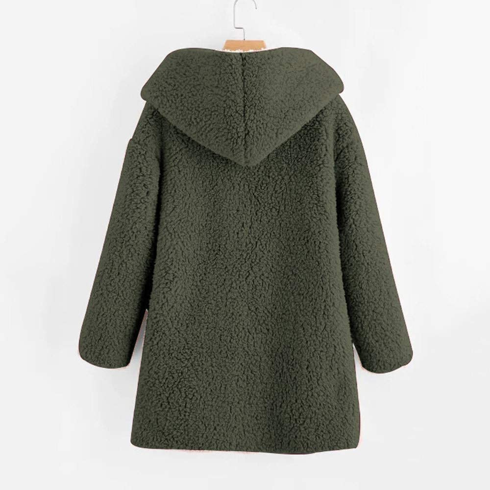 Womens Mid-Long Solid Coat Winter Curved Hem Long line Faux Fur Sherpa Fleece Hoodie Jacket