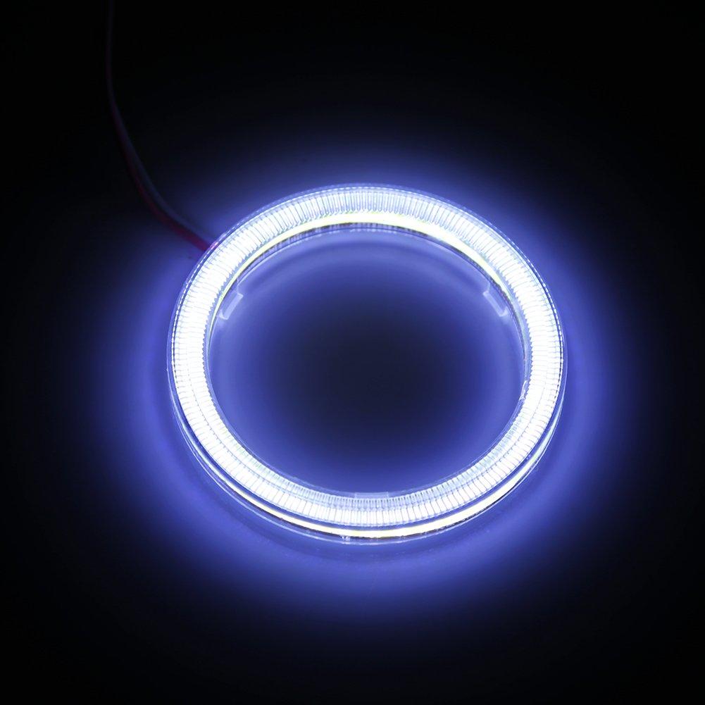 Qiilu 1 paire Auto Halo Anneaux Angel Eye COB Puces Phare DRL LED Pour Voiture De Moto 80mm