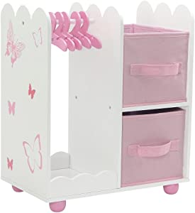 Emily Rose 18 Inch Doll Furniture | Beautiful Open Wardrobe 18 Inch Doll Closet with Butterfly Detail, Includes 5 Wooden Doll Clothes Hangers | Fits American Girl Doll Clothes