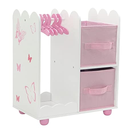 Exceptionnel 18 Inch Doll Furniture | Beautiful Pink And White Open Wardrobe Closet With  Butterfly Detail Comes