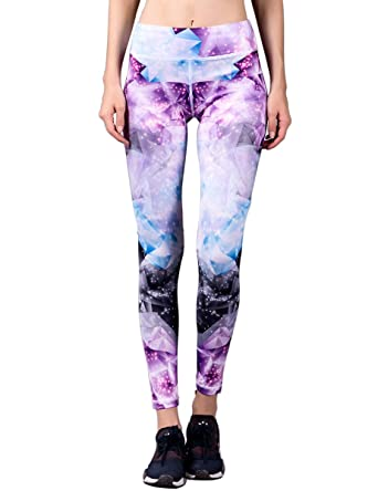 e023c44827a8d WOSAWE Women's High-Rise Crystal-Printed Yoga Leggings Workout Tights -  Multicolored -