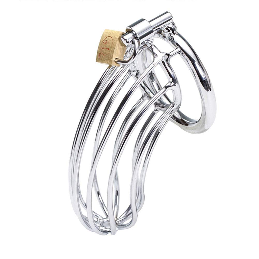 Greymond Male Chastity Cage, Stainless Steel Hallow Chastity Device with 50mm Rings