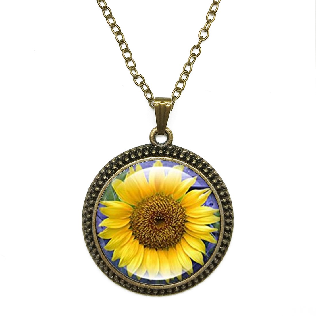 JEANCZ Antique Bronze Finish With Cable Chain Sunflower Vintage Style Pendant Necklace Personalized Necklace