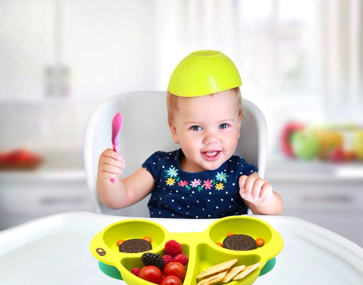 Dishwasher and Microwave Safe Silicone Placemat 28 * 20 * 2.5cm One-Piece Baby Plate for Babies Toddlers and Kids Qshare Toddler Plates BPA-Free FDA Approved Strong Suction Plates for Toddlers