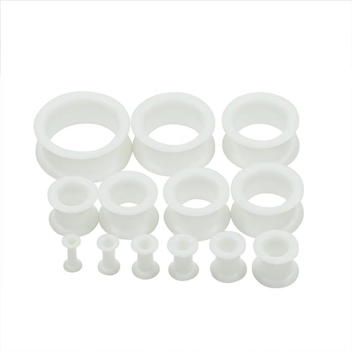 D&M Jewelry 2 Piezas Blanco Hueco Flexible Expansor de Túnel, Tapones de Silicona de Oreja Ear Plug Piercing 25mm: Amazon.es: Joyería