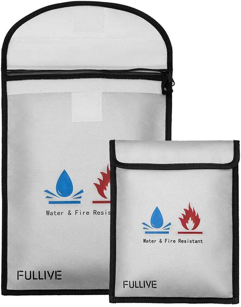 """Fireproof Document Bag - 15""""X11"""" Fireproof Safe Bag, 7""""x9"""" Money Pouch Envelope, Non-Itchy Silicone Coated File Storage, Waterproof Document Holder, Money Bag with Zipper"""