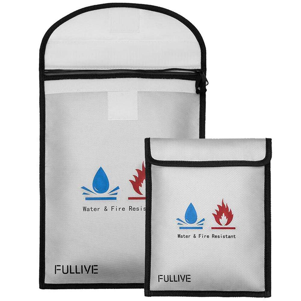 Fireproof Document Bag - 15''X11'' Fireproof Safe Bag, 7''x9'' Money Pouch Envelope, Non-Itchy Silicone Coated File Storage, Waterproof Document Holder, Money Bag with Zipper by Fullive