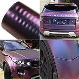 Purple and Blue Car Chameleon Wrap Auto Carbon fiber Wrapping Film Vehicle Change color Sticker Tint Vinyl Air Bubble Free (60cm x 152cm)