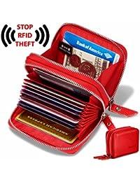 De la Mujer Piel Auténtica RFID Tarjeta Secure Spacious Cute Zipper Billetera Pequeño cartera