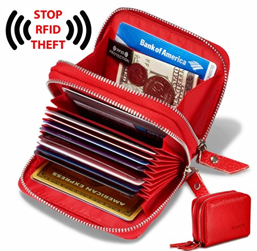 Women's Genuine Leather RFID Secured Spacious Cute Zipper Card Wallet Small Purse (Red) Image