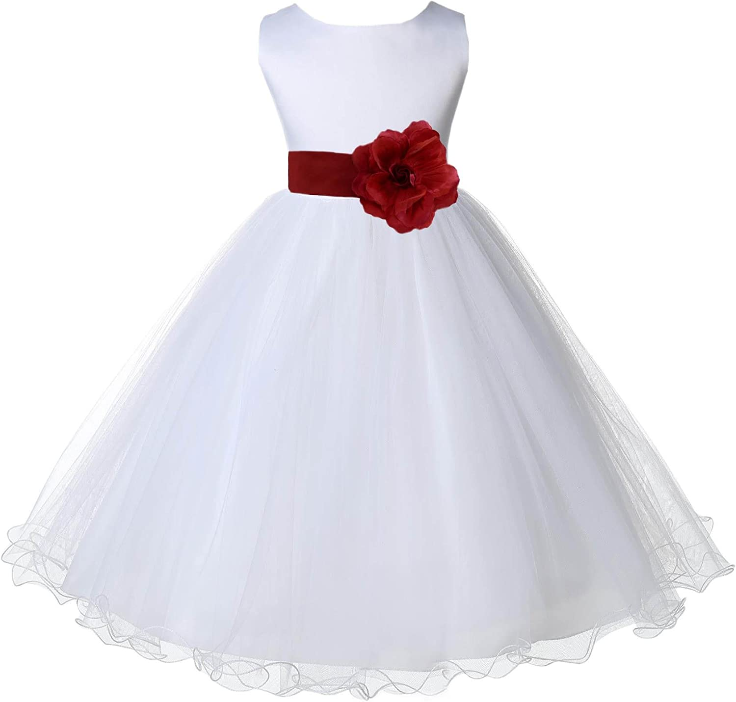 Wedding Pageant White Flower Girl Rattail Edge Tulle Dress 829s