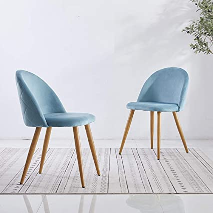 camera da letto ufficio stile retr/ò set di 2 sedie per sala da pranzo con gambe in metallo color legno salotto per cucina rivestimento in tessuto CLIPOP imbottite sedie da cucina azzurro