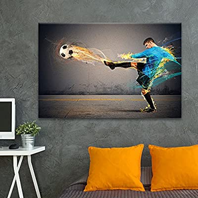 Canvas Wall Art Sports Theme - Powerful Scene Man Kicking a Soccer - Giclee Print Gallery Wrap Modern Home Art Ready to Hang - 32x48 inches