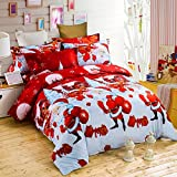 THEE Merry Christmas Santa Claus Bedclothes Quilt Cover Duvet Cover Bedding Set(Twin)