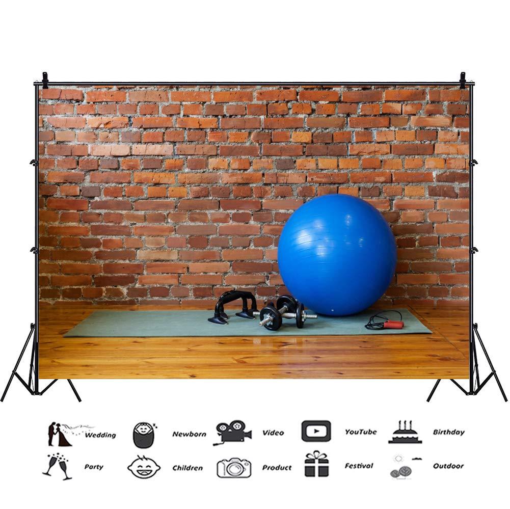 YongFoto 1,5x1m Vinilo Fondo de fotografía Fondo de Pared de ladrillo de Gimnasio Estera Fitball Cuerda Mancuernas Telón de Fondo Fotografía Estudio de Foto ...