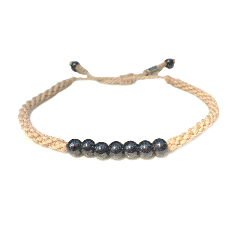 Genuine lucky gemstone jewelry Waterproof surfer bracelet with stone Tiger eye macrame bracelet cuff