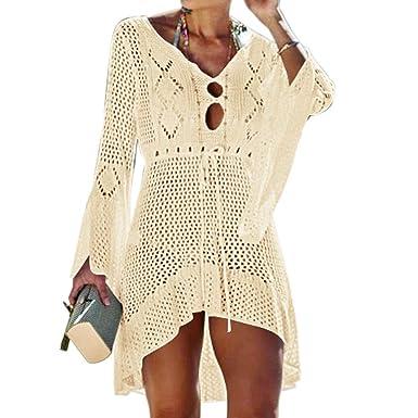 14a2d606997a5 Tacobear Women Hollow Out Beachwear Bikini Cover Up Swimwear Swimsuit V  Neck Knit Beach Bathing Cover Ups Dress for Ladies (Beige): Amazon.co.uk:  Clothing