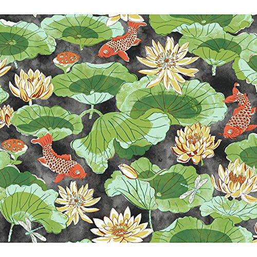 York Wallcoverings Waverly Classics II Lotus Lake Removable Wallpaper, Blacks ()
