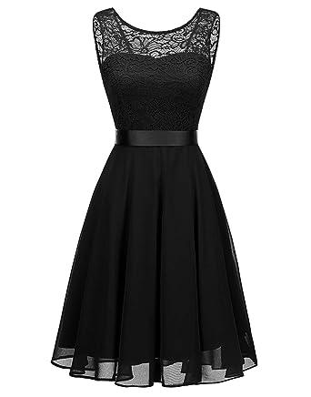 8ad902e66cf BeryLove Women s Short Floral Lace Bridesmaid Dress A-line Swing Party  DressBLP7005BlackS