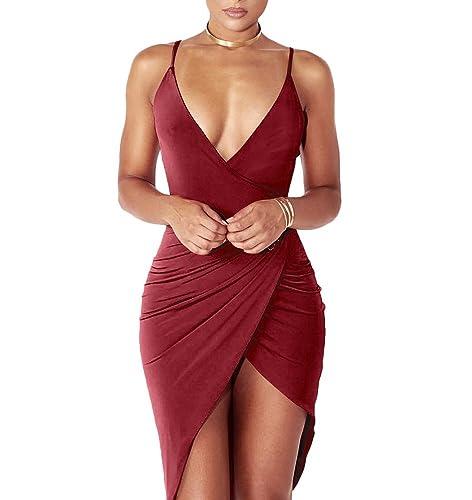 YS.DAMAI Women's Sexy V Neck Spaghetti Strap Bodycon Wrap Dress Front Slit Bandage Midi Club Dresses