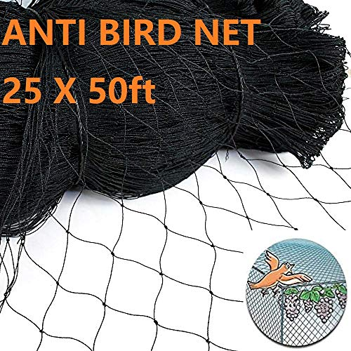 Bird Netting, Poultry Netting Protect Plants and Fruit Trees, Extra Strong Garden Aviary Net, Lasting Anti Birds, Chicken, Deer and Other Pests (25x50ft-2in) (25x50ft-2in) by De-Bird