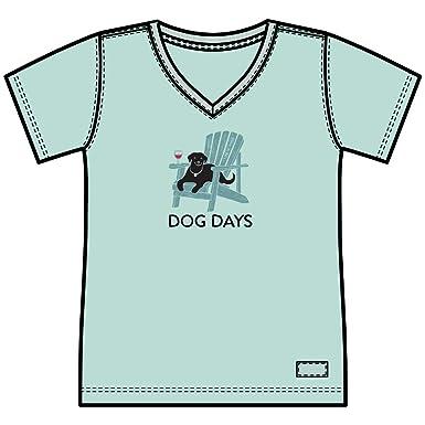 039c538fe06 Life is Good Women s Dog Days Crusher Vee Shirt (X-Small) Bermuda Blue