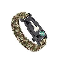 ZENDY braccialetto corda Paracord con l'acciaio raschietto Firestarter e fischietto e bussola multifunzionale sopravvivenza all'aperto
