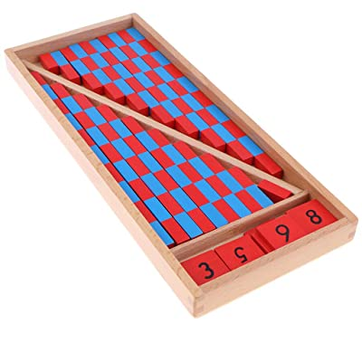 Montessori Mathematics Material - Small Numerical Rods with Number Tiles Blue Red Color with Wooden Box for Preschool Kids Early Development Toy: Toys & Games
