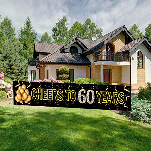 Large Cheers to 60 Years Banner, Black Gold 60 Anniversary Party Sign, 60th Happy Birthday ()