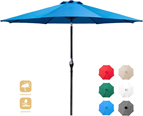 Flamaker 9 FT Patio Umbrella Tilts Outdoor Umbrella Picnic Table Umbrella Pool Umbrella for Garden, Deck, Backyard and Beach Blue