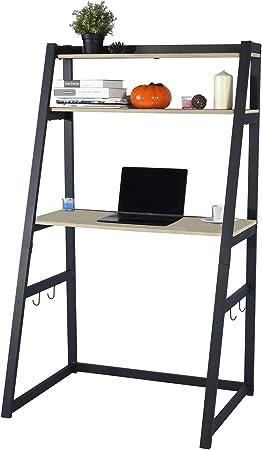 Escritorio de Escalera para Escritorio de Computadora Portátil de Estilo Moderno para Sala de Estar en el Hogar Oficina con Ganchos y 2 Estantes, Beige Negro 90x60x150, 18.6 kg: Amazon.es: Hogar