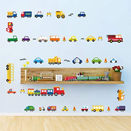 decalmile Transports Stickers Muraux Enfant Autocollants Mural Chambre B/éb/é Gar/çon Garderie Salle de Jeux D/écoration Murale