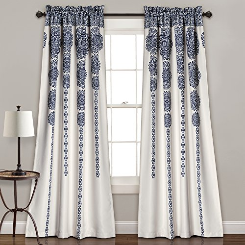or Stripe Medallion Room Darkening Window Curtain Panel Pair Set, 0, Navy ()