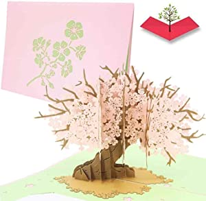 PopLife Cherry Blossom Tree Pop Up Mother's Day Card - 3D Anniversary Gift, Pop Up Valentine's Day Card, Thank You, Pink Happy Birthday - for Mom, for Daughter, for Wife, for Grandma, for Stepmom