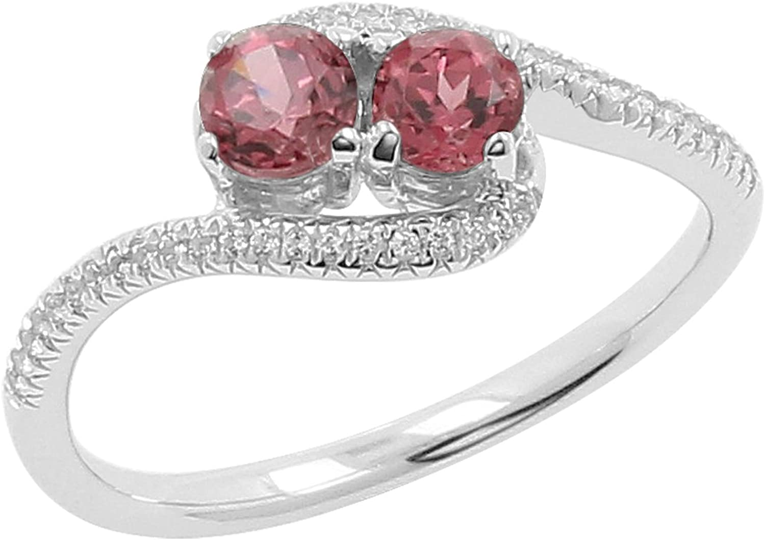 Isha Luxe-Gemstone Collection Rhodolite and White Topaz 2-Stone Curved Bypass Ring in 925 Silver Size-7