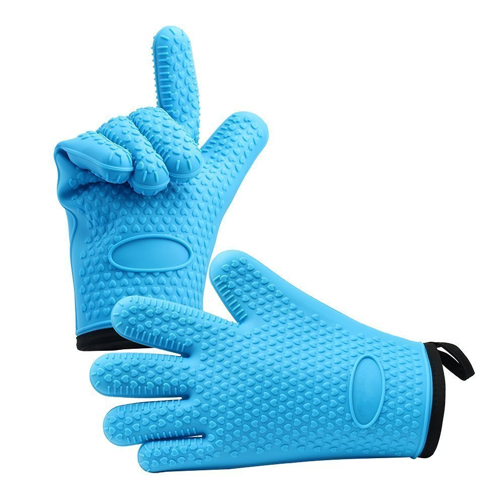 Oven Mitts - Silicone and Cotton Double-layer Heat Resistant Gloves / Silicone Gloves / Oven Gloves / BBQ Gloves -Non-Slip Grip Food Grade Safe, Comfortable Fit for Most Sizes - Perfect for Baking and Grilling - 1 Pair Jiayingda