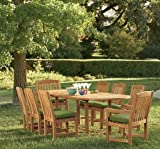 Cheap New 9 Pc Luxurious Grade-A Teak Dining Set – 94″ Double Extension Mas Oval Table (Trestle Leg), 6 Armless and 2 Arm / Captain Devon Chairs #WHDSDV3